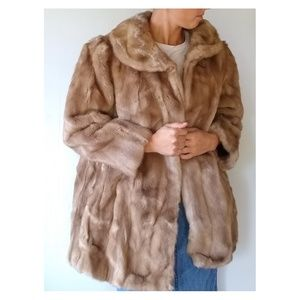 VINTAGE Union Label tan faux fur coat and hat